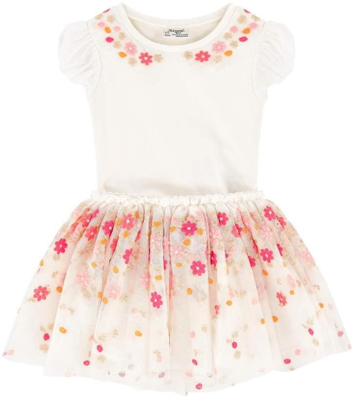 Mayoral Flower-Top & Tulle-Skirt Set