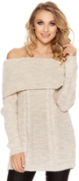 Quiz Stone Cable Knit Bardot Jumper