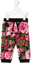 Dolce & Gabbana rose print trousers - kids - Cotton/Spandex/Elastane - 9-12 mth