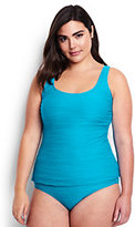 Classic Women's Plus Size DD-Cup Texture Scoop Tankini Top-Calypso Blue