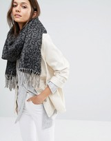 Pieces Leopard Print Scarf with Tassels