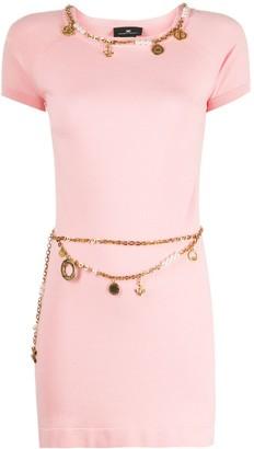 Elisabetta Franchi charm chain trim T-shirt dress