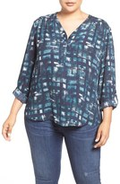 Sejour Roll Sleeve Henley Blouse (Plus Size)