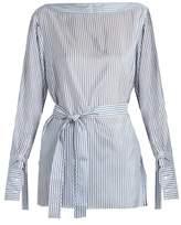Calvin Klein Collection Keith Bis boat-neck striped satin top