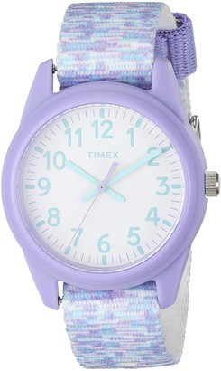 Timex Girls TW7C12200 Time Machines Purple/White Sport Elastic Fabric Strap Watch