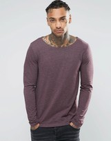 Asos Long Sleeve T-Shirt With Boat Neck In Oxblood
