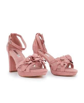 Xti Block Heel Flower Detail Sandals Colour: PINK, Size: UK 3