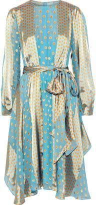 Diane von Furstenberg Polka-dot Satin-paneled Fil Coupe Silk-blend Chiffon Dress