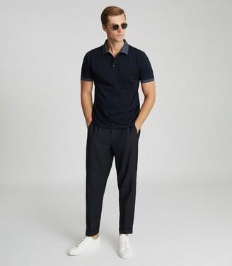 Reiss Filipo - Contrast Collar Polo Shirt in Navy