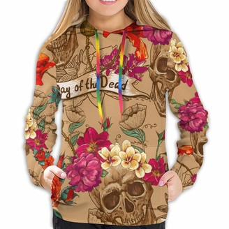 Mjh Day of The Dead Skull Poppies Flower Fashionable Soft Women Long Sleeve Hoodie Suitable for Spring Autumn and Winter Tops Black