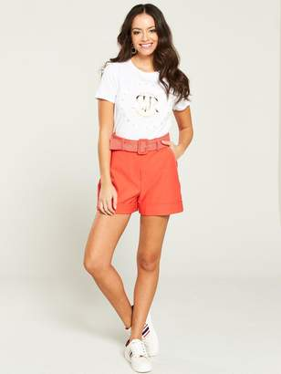 River Island Belted Tailored Short- Coral