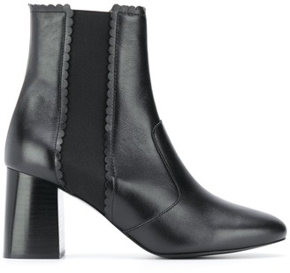 See by Chloe Scallop-Edge Ankle Boots