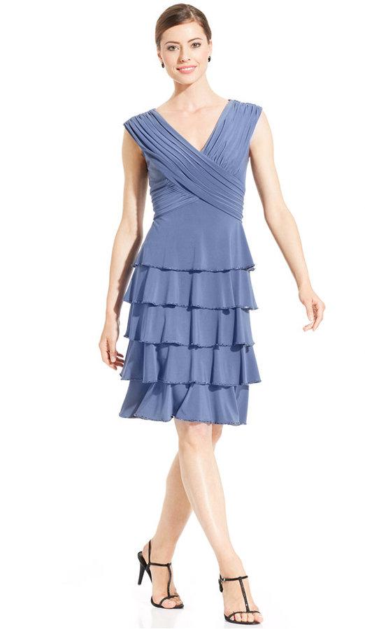 Patra Cap-Sleeve Bead-Trim Tiered Dress