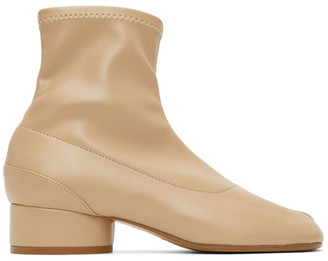 Maison Margiela Beige Eco Leather Tabi Sock Boots