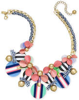 Kate Spade Gold-Tone Stone, Leather & Ribbon Statement Necklace