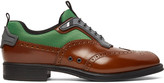 Prada Spazzolato Leather and Mesh Wingtip Brogues