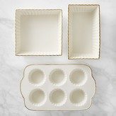Williams-Sonoma Williams Sonoma Gold-Rimmed Ceramic 3-Piece Bakeware Set