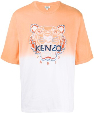 Kenzo embroidered Tiger logo two-tone T-shirt