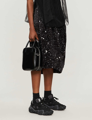 Black Comme Des Garcon Paint-splatter high-waist dropped-crotch velvet shorts