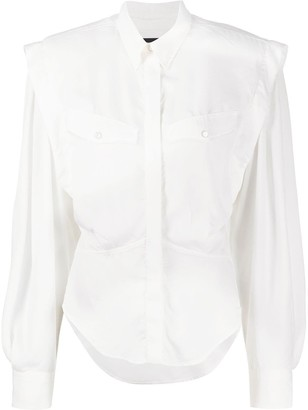 Isabel Marant Fitted-Waist Structured-Shoulder Top