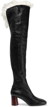 Helmut Lang Shearling-lined Leather Over-the-knee Boots
