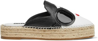Alice + Olivia Danika Embroidered Patent And And Smooth Leather Espadrille Slippers