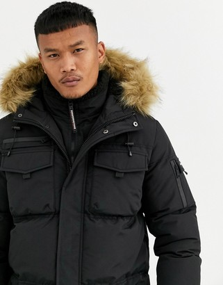 Good For Nothing puffer parka coat in black with faux fur hood