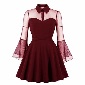 HaoHuodress Women's Collared Tulle Swing Party Dress Bell Sleeve Knee Length Cocktail Banquet Evening Wedding Birthday Bridesmaid Burgundy
