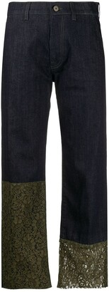 Mr & Mrs Italy Mid Rise Lace Trimmed Jeans