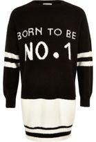 River Island Girls black knit 'No1' sweater dress
