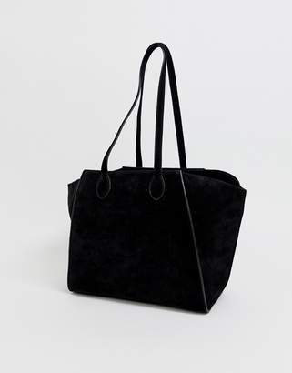Asos Design DESIGN suede bonded winged shopper bag with removable pouch-Black