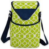 Picnic at Ascot 2-Bottle Trellis Print Wine/Water Bottle Tote in Green