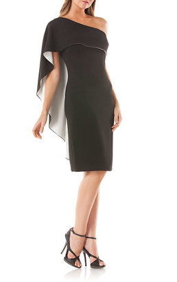 Carmen Marc Valvo One-Shoulder Cocktail Dress w/ Satin-Lined Capelet