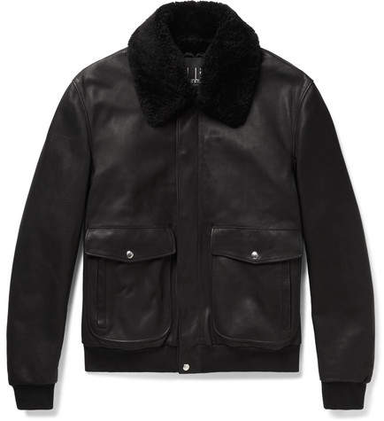 Dunhill Shearling-Trimmed Leather Aviator Jacket