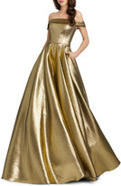 Mac Duggal 6-Week Shipping Lead Time Off-the-Shoulder Metallic Ball Gown with Pockets