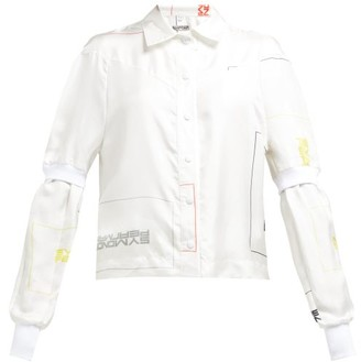 Symonds Pearmain - Double-sleeve Logo-print Satin Shirt - White Multi