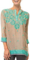 Gretchen Scott Silk Embroidered Tunic Top