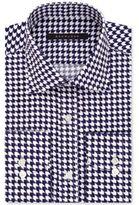 Sean John Classic/Regular Fit Men's Big and Tall Fitted Tailored-Cut Purple Print Dress Shirt