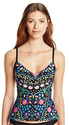 Kenneth Cole Reaction Women's Garden Groove Floral Print Over The Shoulder Tankini
