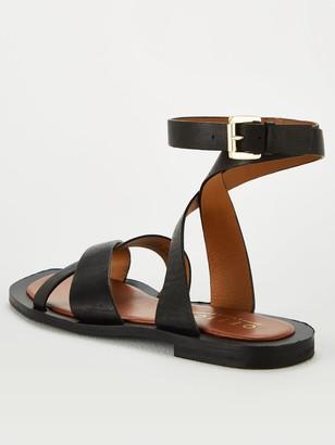 Office Siren Ankle Strap Flat Sandal - Black
