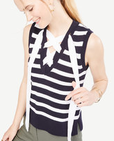 Ann Taylor Stripe Sleeveless Lace Up Sweater