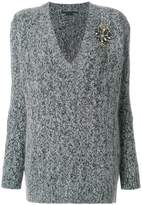 Ermanno Scervino v-neck cable knit applique sweater