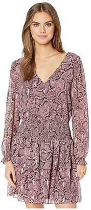 1 STATE Long Sleeve Smocked Waist Snake Print Dress (Mahogany) Women's Dress