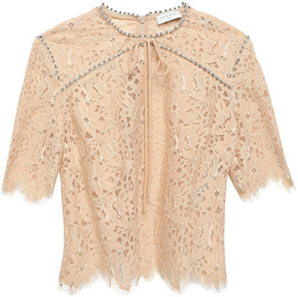 Sandro Utopie Crystal-trimmed Corded Lace Top