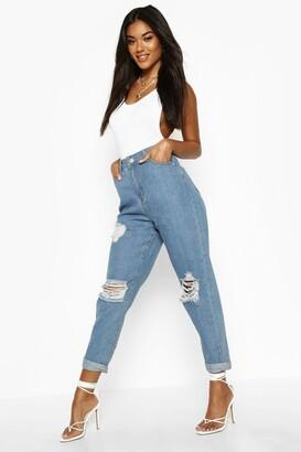 boohoo Mid Rise Super Distressed Boyfriend Jeans