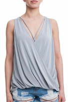 Lush Grey Surplice Top