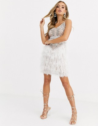 Starlet strappy embellished faux feather mini dress in white