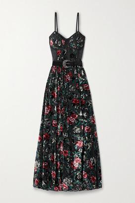 PatBO Belted Lace-paneled Floral-print Devore-velvet Maxi Dress - Black