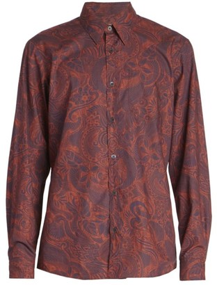 Dries Van Noten Corbino Paisley-Print Long-Sleeve Button-Front Shirt