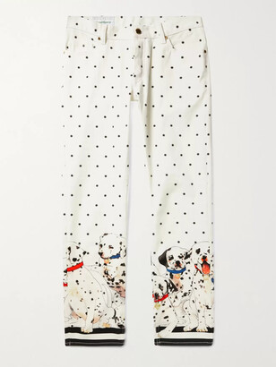 Casablanca Slim-Fit Cropped Printed Denim Jeans